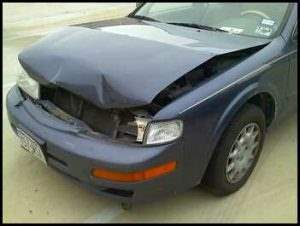 Car accident, dented front bumper